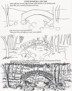 How to Draw Worksheets for The Young Artist: How to Draw the Arch Stone Bridge
