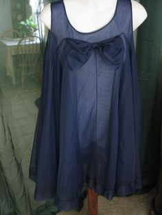 Vintage Miss Elaine Navy Blue Babydoll Nightgown Semi Sheer Double Chiffon Large XL 1960s Vintage Lingerie - product image