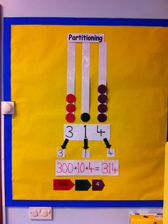 Partitioning display which I made for my year 3 class Maths Display, Classroom Displays, Year 3 Classroom Ideas, Maths Working Wall, Year 3 Maths, Display Boards, Place Values, Math For Kids, Primary School