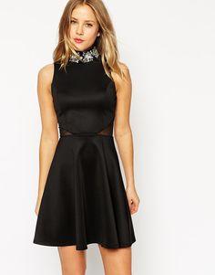 ASOS Embellished High Neck Skater Dress
