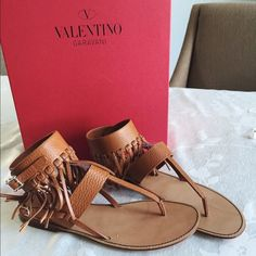 Valentino C-rockee fringe leather sandals Brand new with original box and dust bag. Valentino C-rockee leather fringe thing style sandals with buckle-fastening ankle strap adorned with mini gold colored studs. Size 38.5. No trades. Retails $1075 Valentino Shoes Sandals