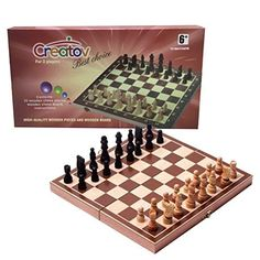 Chess Board Set, Deluxe Folding Tournament Game Board with Storage Bags and Genuine Intricately Carved Stained Wood Pieces, Great for Travel By Creatov® ** To view further for this item, visit the image link.