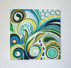 12 x 12 Original Abstract Acrylic Swirl Painting by MegzArt, $25.00