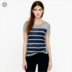 J.Crew bar stripe tee. Blogger favorite. Gray with black stripe tee. Such a versatile basic tee with a twist. J. Crew Tops Tees - Short Sleeve