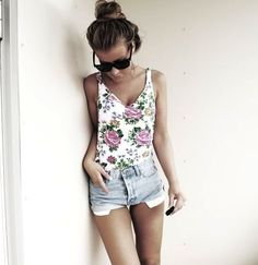 shorts are a bit too short, but I love the top and distressed denim