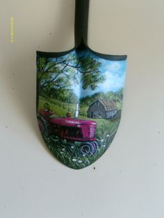 Old Shovel w/o Handle painted with Barn in Pastorial Scene and Farmall Tractor in Foreground by Arkansas Artist Diana( lisa hood Painting Tools, Tole Painting, Painting On Wood, Painted Rocks, Hand Painted, Country Paintings, Vintage Crafts, Pictures To Paint, Yard Art