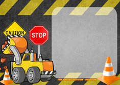 Get FREE Printable Construction Vehicles Birthday Invitation Templates