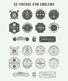 Buy 22 Gym Emblems by Akim_D on GraphicRiver. Set of vintage gym logos, badges, emblems and design elements Can be used for logo design, badge design, shop sign an. Web Design, Logo Design, Design Shop, Crossfit Logo, Powerlifting Gym, Gym Badges, Hd Logo, Print Fonts, Badge Logo