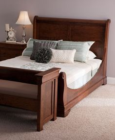 Louis Philippe Sleigh Bed from Simply Amish furniture Wood Bed Design, Sofa Design, Amish Furniture, Bedroom Furniture, Bed Designs Pictures, Build A Closet, Sleigh Beds, Modern Sectional, Furniture Styles