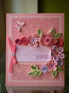 """Handmade Paper Quilling Set of 5 """"Thank You"""" cards by"""