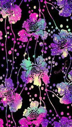 Flowing flowers galaxy iPhone & Android wallpaper I created for the app CocoPPa!