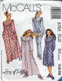 Lanz of Salzburg Nightgown, 90s Pajamas, Designer Sleepwear, Pullover Pajama Top and Pants, McCalls Sewing Pattern 5701, Size 6 8, Christmas by TheGrannySquared on Etsy