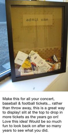 How to store tickets   love this with the traveling theme room