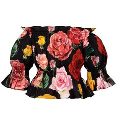 Colourful roses contrast beautifully with the black background on this blouse inspired by Dolce & Gabbana's adult collection. Made in lightweight stretch poplin, the top has an elasticated neckline, so it can be worn on and off-the-shoulder. Little Girl Fashion, Kids Fashion, Dolce And Gabbana Kids, Colorful Roses, Kids Coats, Dubai Fashion, Kids Online, Off Shoulder Tops, Japanese Fashion