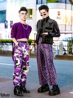 Purple Harajuku Street Styles w/ High-Low Sweater, Rothco Camo Pants, Never Mind the XU Snakeskin Pants, Gallerie Vest & WEGO Backpack in 2019 Street Style Vintage, Asian Street Style, Tokyo Street Style, Japanese Street Fashion, Tokyo Fashion, Harajuku Fashion, Korean Fashion, Fashion Outfits, Fashion Trends