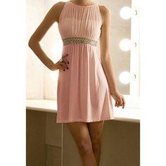 Cut Out Sleeveless Round Neck See-Through Ladylike Style Chiffon Women's Dress Chiffon Dresses | RoseGal.com Mobile