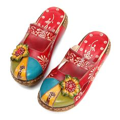 e8eca36a8cc224 Hot-sale SOCOFY Vintage Colorful Leather Hollow Out Backless Flower Shoes -  NewChic Slipper Boots