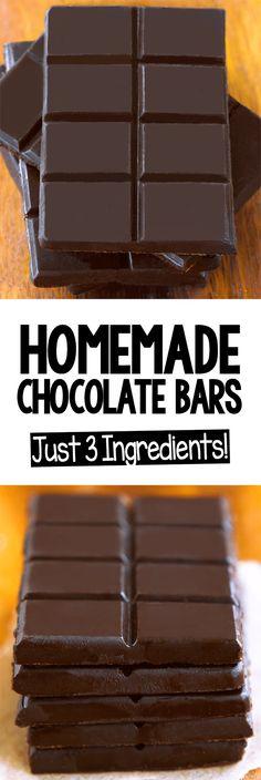 Easy Homemade Chocolate Bar Recipe (Vegan, Keto, Paleo) Homemade Chocolate Bars, Vegan Chocolate Bars, Homemade Candies, Sugar Free Chocolate, Healthy Chocolate, Delicious Chocolate, Chocolate Desserts, Vegan Desserts, Chocolate Diy