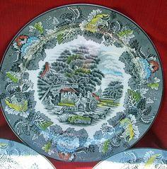 british dinner plates | Antique China Woods Ware Gray Multi English Scenery Dinner Plate