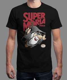 """""""Super Moria Fools"""" is today's £9/€11/$12 tee for 24 hours only on www.Qwertee.com Pin this for a chance to win a FREE TEE this weekend. Follow us on pinterest.com/qwertee for a second! Thanks:)"""