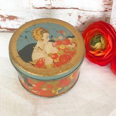 Antique Art Deco Powder Tin Litho Box Orange Floral French Parisian Bath talc talcum Vintage advertising Encharma Poudre Toilette by WonderCabinetArts
