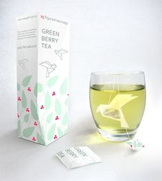 Green berry tea, bird shaped tea bags – Designed by Natalia Ponomareva, from Russia. This design is currently just a concept, but apparently the wings unfurl in the hot water.