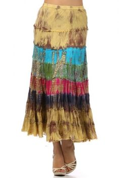 100 percent Cotton 1S/1M/1L Per Pack Multi This HIGH QUALITY skirt is BEAUTIFUL!! Made from a super soft and comfy fabric, this adorable tie dye maxi skirt with an elastic waistband is hand washable, and fits true to size.