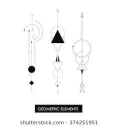 Tribal geometric elements. Tribal minimalism. Perfect for geometric tattoo.