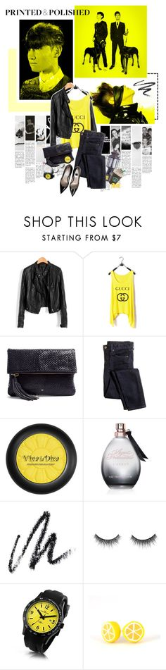 """""""091. TVXQ"""" by oh-pororo ❤ liked on Polyvore featuring Gucci, Anya Hindmarch, J.Crew, Jean-Michel Cazabat, Viva La Diva, Agent Provocateur, Benefit, shu uemura and Kennett"""