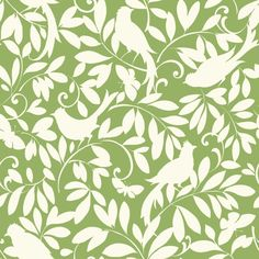York Wallcoverings ER8136 Waverly Cottage Birdsong Wallpaper Lemon Lime / Chalk White Home Decor Wallpaper Wallpaper