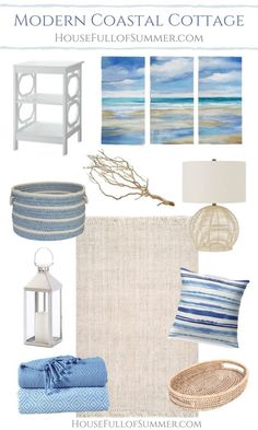 Tips for Decorating in Modern Coastal Cottage Style House Full of Summer mood board blue and white decor jute rug natural decor beach house style Florida home # Style At Home, Beach House Style, Beach Cottage Style, Cottage Style Homes, Beach Cottage Decor, Coastal Cottage, Coastal Homes, Blue Home Decor, Beach Style Bedroom Decor