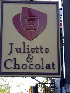 Montreal street sign, juliette & chocolat shop signs in 2019 Pub Signs, Name Signs, Shop Signs, Coffee Fonts, Commercial Signs, Apple Crates, Different Signs, Outdoor Signage, Shop Window Displays