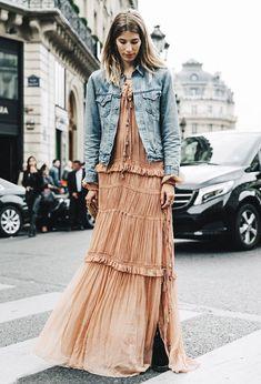 veronika heilbrunner long dress denim jacket street style
