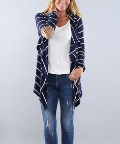 Coco and Main Navy Elbow-Patch Open Cardigan | zulily