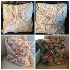 Covering old pillows with new fabric. Without sewing. I followed directions from another pinner which said to 1. Place the pillow in the center of the fabric. 2. Fold the top and bottom sides around the pillow.3. Fold the sides like you would a present (where they have pointed ends) 4. Bring the two ends together at the middle and tie a knot.