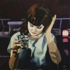 """""""Emelie"""", akryl och olja på pannå."""