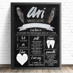 Boho Birthday Board - DIGITAL FILE - Wild One Chalkboard Print 1st Birthday Party | Tribal Birthday Board First Birthday | Click for details and more party printables from Print & Party.