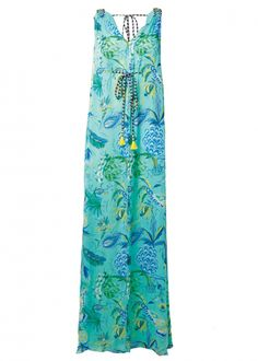 Matthew Williamson's PF15 Mint Pineapple Paisley Print Silk Gown. Click to shop the look.