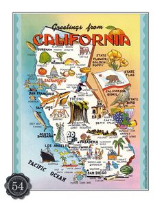 CALIFORNIA CARICATURE MAP Vintage California Map by VintagePrint54, $11.00