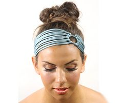 Tiffany blue headband turban head wrap  satin silk hair band  womens headband