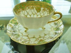 Hand Painted Nippon Footed Cup Saucer Antique Vintage Collectible Early Mark