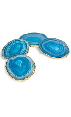 beautiful crystal rock coasters, teal gold coasters
