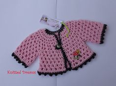 Handmade pink crochet romantic jacket crochet with pink cotton thread with gray trim and fastens with one button. Size for dolls cotton. I crochet in a smoke and pet free home. Pink Jacket, Waldorf Dolls, My Style, Etsy, Sweaters, Jackets, Handmade, Baby Girls, Vintage