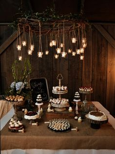 Rustic Dessert Bar  . . . We can bring some burlap and throw it over the linens for the right look!