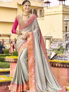 Elegant Grey Georgette And Silk Festival Wear Designer Saree