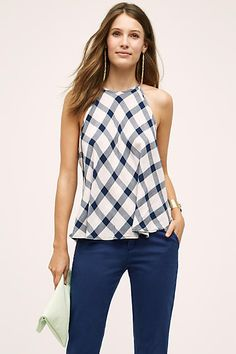 Cloth & Stone Gingham Halter Top