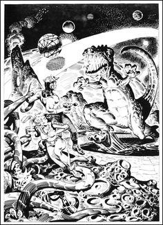 By Steve Ditko. Pulp space alien planet astronaut dinosaur monster tendrils tentacles trapped struggle raygun pistol danger