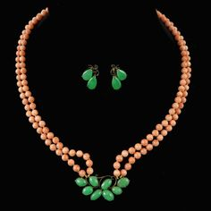 Chinese Green Jade and Coral Necklace and Earring Set in Sterling