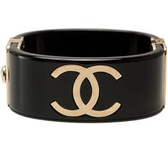 8a03610c70c Pre-Owned Chanel Runway Black and Gold CC Logo Cuff Bracelet ( 1
