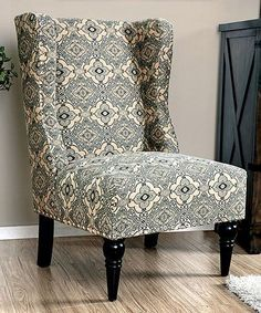 Furniture of America Vier Contemporary Fabric Wingback Accent Chair Wingback Accent Chair, Papasan Chair, Chair Upholstery, Upholstered Dining Chairs, Accent Chairs, Wing Chair, Upholstering Chairs, Upholstery Fabrics, Contemporary Fabric